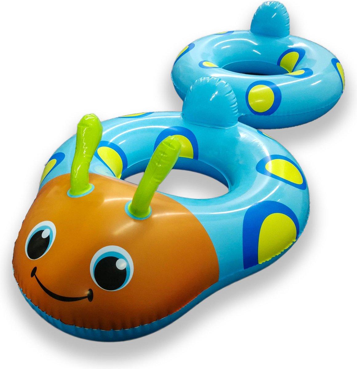 Playing Kids Koppelbare Blauwe Kevertjes Zwembanden voor 2 Kinderen - 160x65x65cm | Opblaasbare Zwemringen voor in het Water, Strand of Zwembad | Veilig Zwemmen | Zwemveiligheid | Zwemtrainer