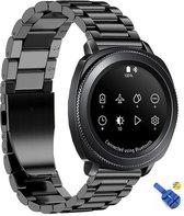 RVS Horloge Band Voor Samsung Gear Sport - Watchband - Strap Armband - Metalen Armband - Zwart