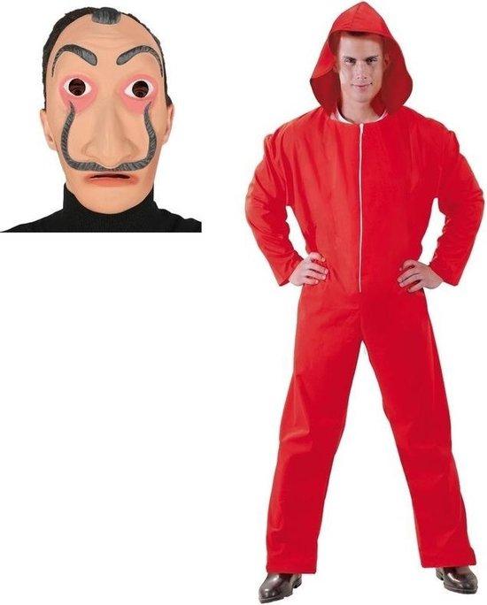Verkleed overall Papel rood voor heren maat M 48/50 - Salvador Dali masker