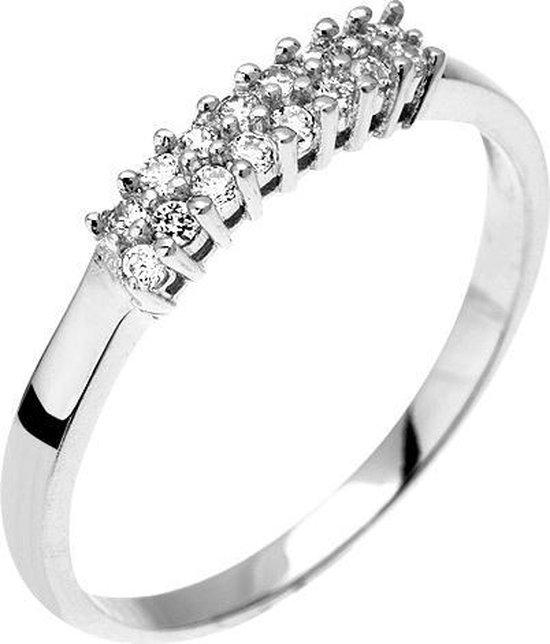 Montebello Ring Pachira - Zilver Gerhodineerd - Zirkonia – maat 58 - 18. 5
