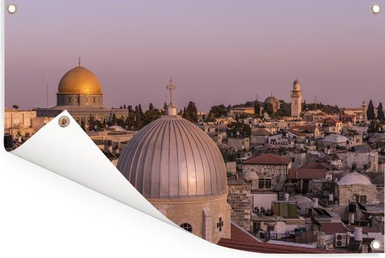 Uitzicht op Jeruzalem en de Heilig Grafkerk in Israël Tuinposter 90x60 cm - Tuindoek / Buitencanvas / Schilderijen voor buiten (tuin decoratie)