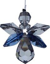 Geluksengel van Swarovski kristallen Blue ( Raamkristal , Raamhanger , Regenboogkristal )