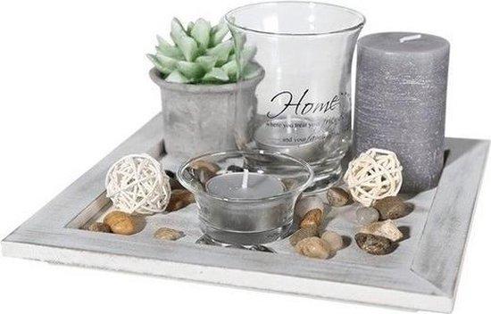 Woondecoratie tafel dienblad met theelichtjes 20 cm