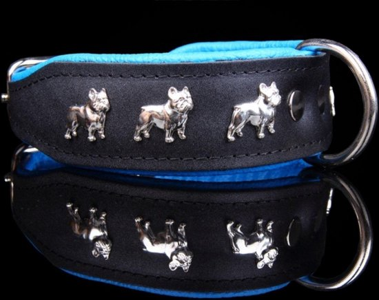 Dog's Companion Leren Halsband - Franse Bulldog - 32-41 cm x 40 mm - Zwart/Blauw