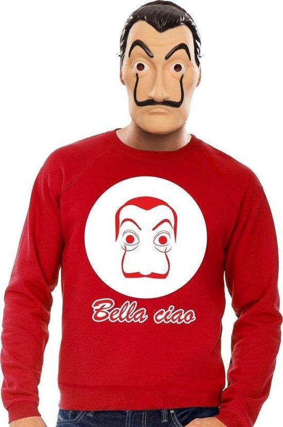 Rood Salvador Dali sweatshirt maat L - met La Casa de Papel masker voor heren - kostuum
