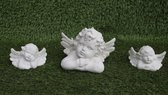 Tuinbeeld engel set van 3 - binnen/buiten - beton - set van 3 engelen: groot/klein