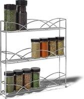 KitchenBrothers Staand Kruidenrek voor 21 Kruidenpotjes - Spice Rack – Keuken Rek - Kruiden Organizer - Specerijen Opbergen - 3 Laags - Chroom
