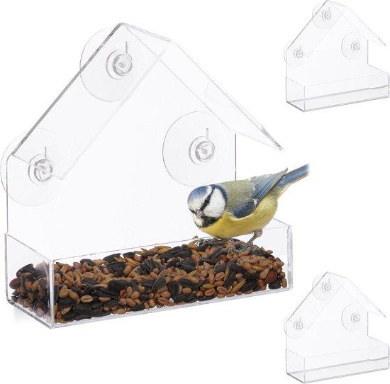 relaxdays 3 x vogelvoederhuis raam - 3 zuignappen - voederstation vogel - voedersilo