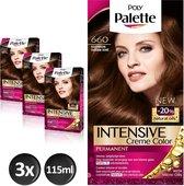 Poly Palette 660 Goud Bruin Haarverf - 3 stuks - intensieve, natuurlijke kleuren met 100% grijsdekking