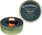 Cracklez® Knetterende Houten Lont Geur Kaars in blik Secret Hammam. Eucalyptus en Rozemarijn. Spa. Donker-grijs. Aromatherapie