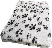 Topmast Vetbed - Hondendeken - Benchmat -puppykleed dierenmat - Grijs voetprint Anti-Slip - 150x100 cm machinewasbaar