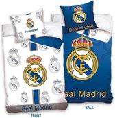 Real Madrid Dekbedovertrek Logo 2-Zijdig - Eenpersoons - 160x200 cm - Blauw/Wit