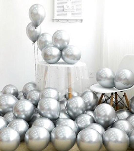 Luxe Chrome Ballonnen  Zilver 10 Stuks - Helium Chrome Metallic Ballonnenset Feestje Verjaardag Party