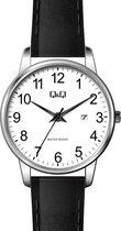 Q&Q dames horloge zilverkleurig/zwart met lederen band en datumaanduiding BL77J817