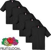 Fruit of the Loom T-shirt maat L 100% katoen 5 stuks (zwart)