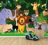"""Fotobehang """"Kinderkamer  Wilde dieren in de jungle - Cartoon"""" 300x230cm"""