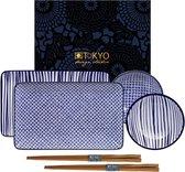 Tokyo Design Studio Nippon Blue Sushi Servies - hoogwaardig porselein - 6-delig - 2-persoons