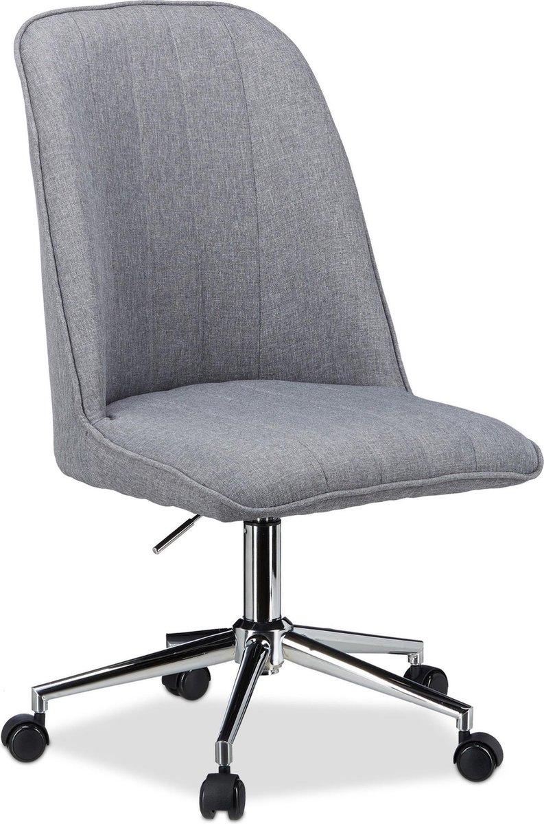 relaxdays draaistoel grijs - verstelbare bureaustoel - computerstoel - design kuipstoel