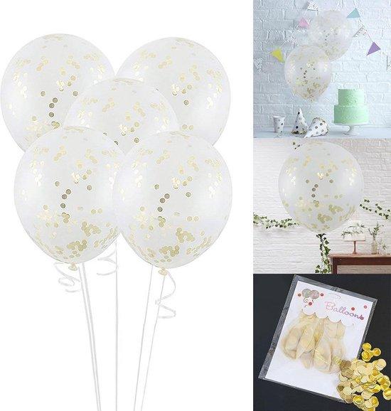 Transparante Confetti Ballonen Set 30 CM Groot - Grote Doorzichtige Latex Party Balonnen - Baby Shower Bruiloft Verjaardag Feestje - 25 Stuks - Goud