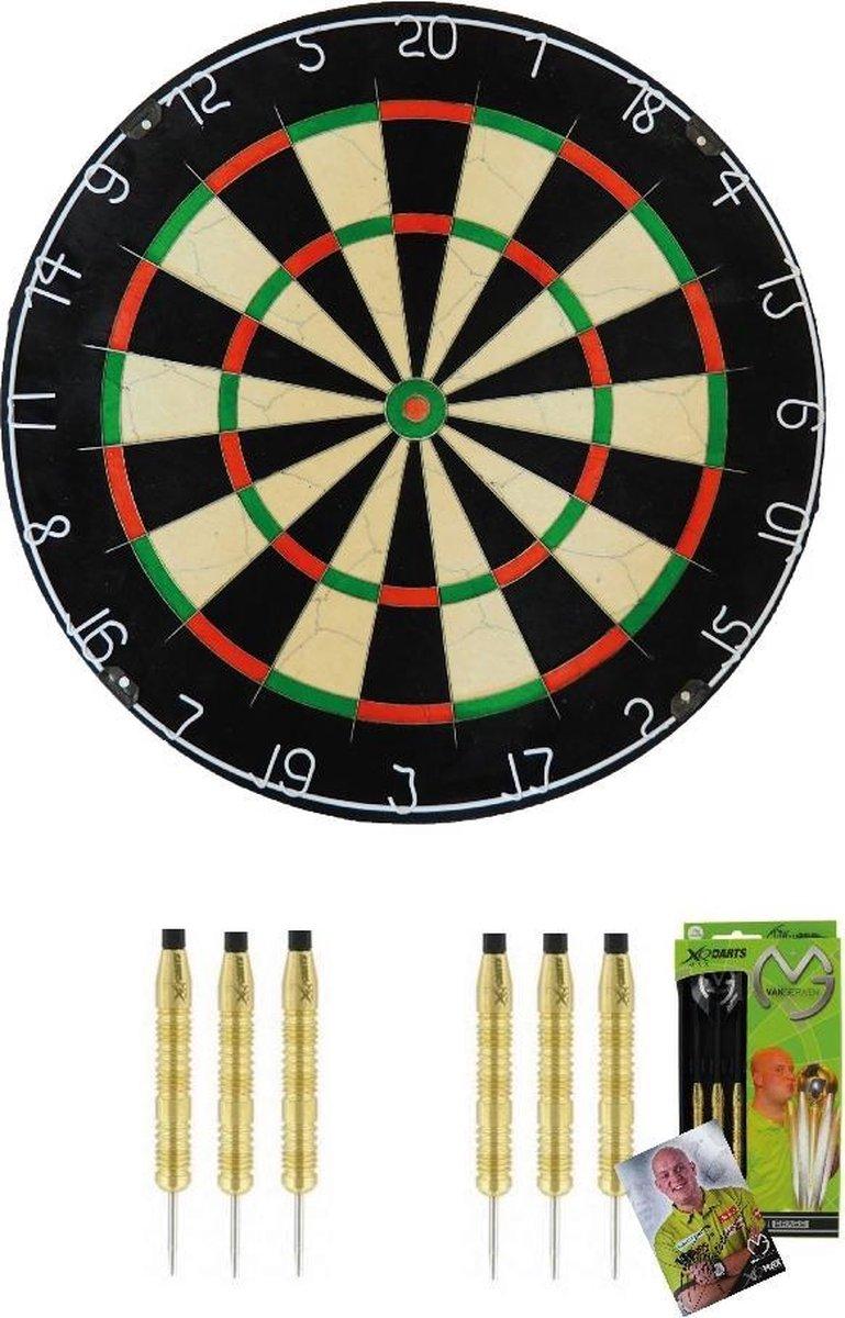 Michael van Gerwen - Supercombi 2 sets - dartpijlen - plus A-merk (BEST GESTEST) bristle - dartbord - starterset darten
