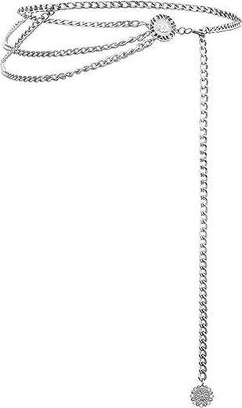 Zilveren chain belt
