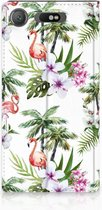 Sony Xperia XZ1 Standcase Hoesje Design Flamingo Palms