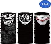 TwinQ 3 Pack Faceshield Skull | Multifunctionele bandana van microfiber doodshoofd | Nekwarmer skull  | Sjaal schedel | 3 Stuks