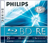 Bluray Philips 25GB  5pcs BD-RE jewel case 2x
