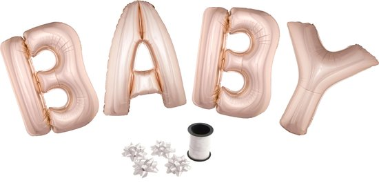 Folie ballonset roze met letters BABY 102 cm + geschenklint 10m met 4 witte strikken