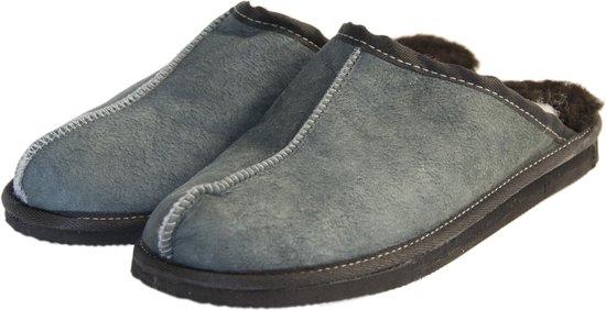 Schapenvacht pantoffels - Lamsvacht heren slippers - Grijs - Maat 44