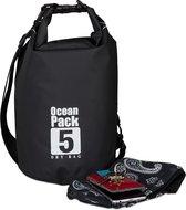 relaxdays Ocean Pack 5 liter - waterdichte tas - droogtas - outdoor plunjezak - zeilen zwart