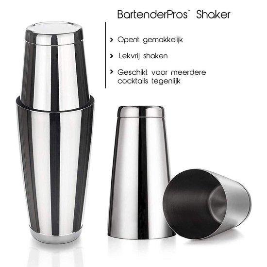 Cocktail Set Bartender Pros™ - Cocktail Shaker - 11-Delige Cocktailset - Boston shaker - Cocktailshaker - Zilver - RVS