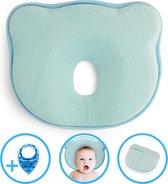 Baby IQ Orthopedisch baby hoofdkussen – Traagschuim – Tegen plat achterhoofd – Baby Kussen plat hoofd - Kraamcadeau – Blauw – Incl gratis Bandana Slabber