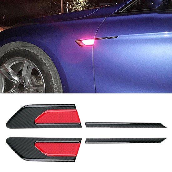 2 STKS Koolstofvezel Auto-Styling Spatbord Reflecterende Bumper Decoratieve Strip, Binnenreflectie + Externe Koolstofvezel (rood)
