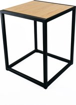 Bijzettafel - Nachtkastje - Decoratie - Industrieel - Zwart Metaal - Eik: Dainty Oak Pure - Vierkant 390x390x490 - MY Own Table 002