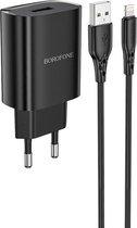 HOCO BN1 Innovative - Universele USB Oplader + Lightning Kabel - 5V/2.1A 10W - Voor iPhone en Android Smartphones - Zwart
