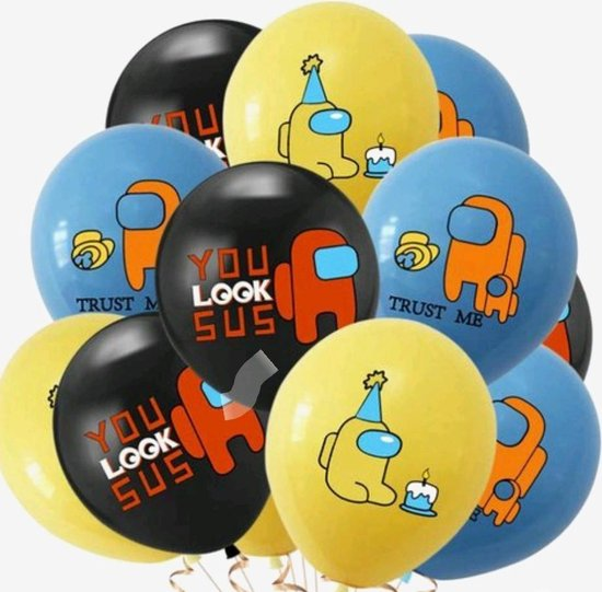 Among Us Ballonnen-Set-Latex-Verjaardag -12-stuks-Blauw-Geel-Zwart-