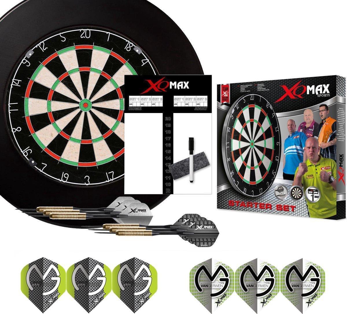 XQ-MAX - Michael van Gerwen complete dart starter set - dartbord - accessoires - dartbord surround ring zwart