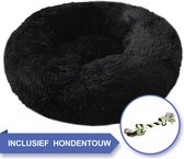 Adoras Donut Hondenmand - Fluffy - Wasbaar - 60cm - M - Zwart - Dierenmand - Hondenbed - Hondenkussen -