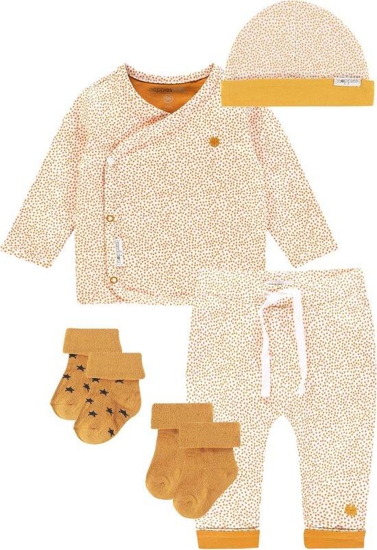 Noppies SET(5delig) Wit geel gestipt broek, shirt, muts en 2 paar sokken - Maat 44