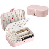 Vitamo™ Sieradendoos - Sieradenbox - Juwelendoos - Sieraden Organizer - Opberger - Opbergdoos voor Sieraden & Horloges - Handig voor op Reis - PU Leer - Roze