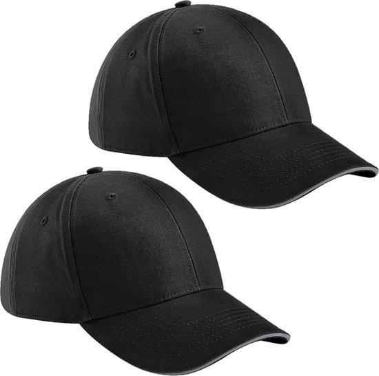 2x stuks 6-panel baseballcap zwart/grijs voor volwassenen