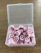 50 stuks Kralen Smiley Licht Roze - 1 cm - Figuurkralen - Kleikralen - Fimokralen - Kralen Emoji