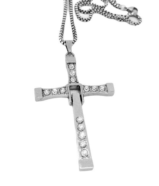 Stainless Steel heren ketting met beweegbaar kruis hanger. bekendheid uit de film