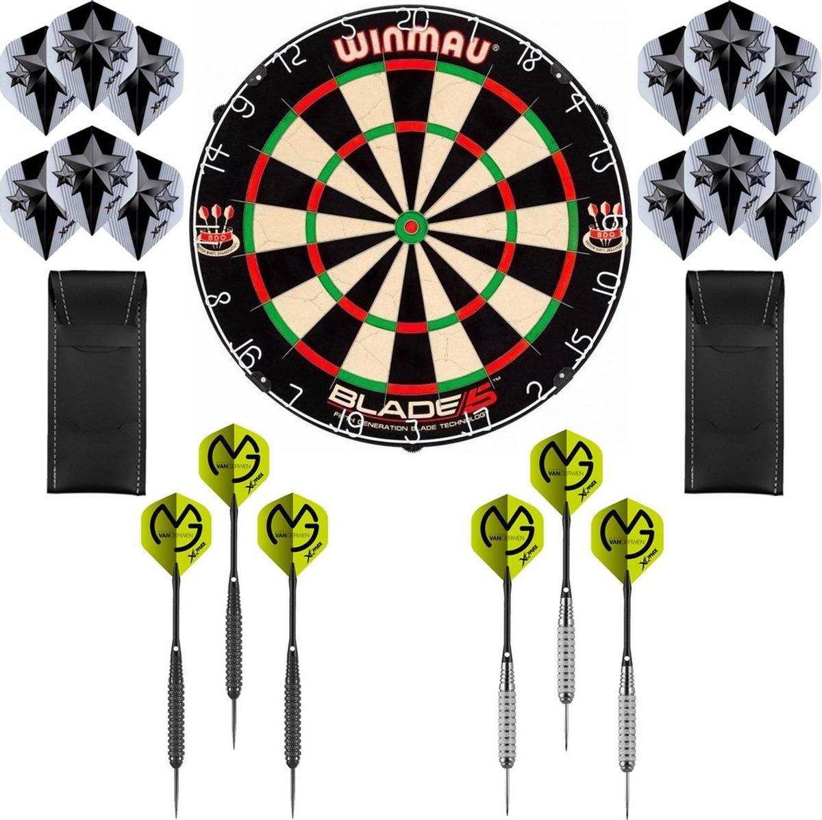 Dragon Darts Michael van Gerwen Precision set - dartbord - 2 sets - dartpijlen - dart shafts - dart flights - Winmau Blade 5 dartbord