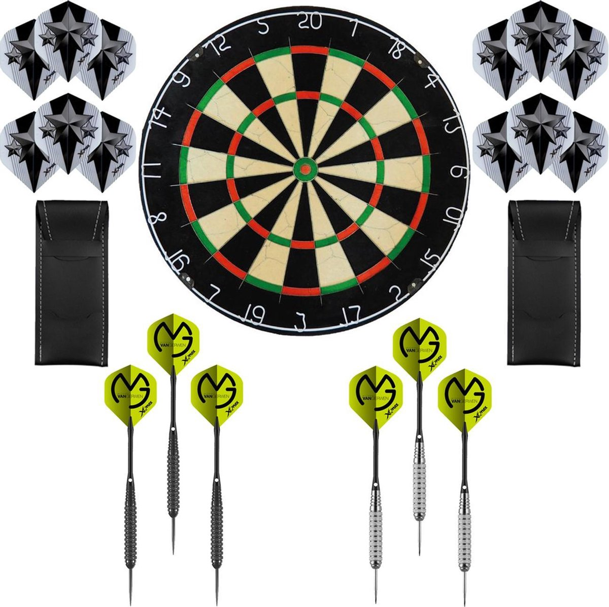 Dragon Darts Michael van Gerwen Precision set - dartbord - 2 sets - dartpijlen - dart shafts - dart flights - Plain A-Merk XQ dartbord