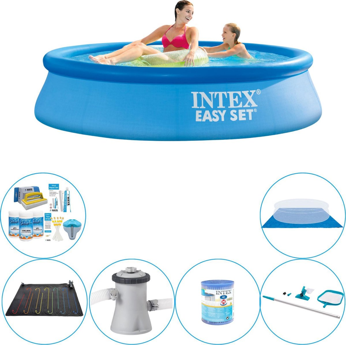 Intex Easy Set Rond 244x61 cm - 7-delig - Zwembad Pakket