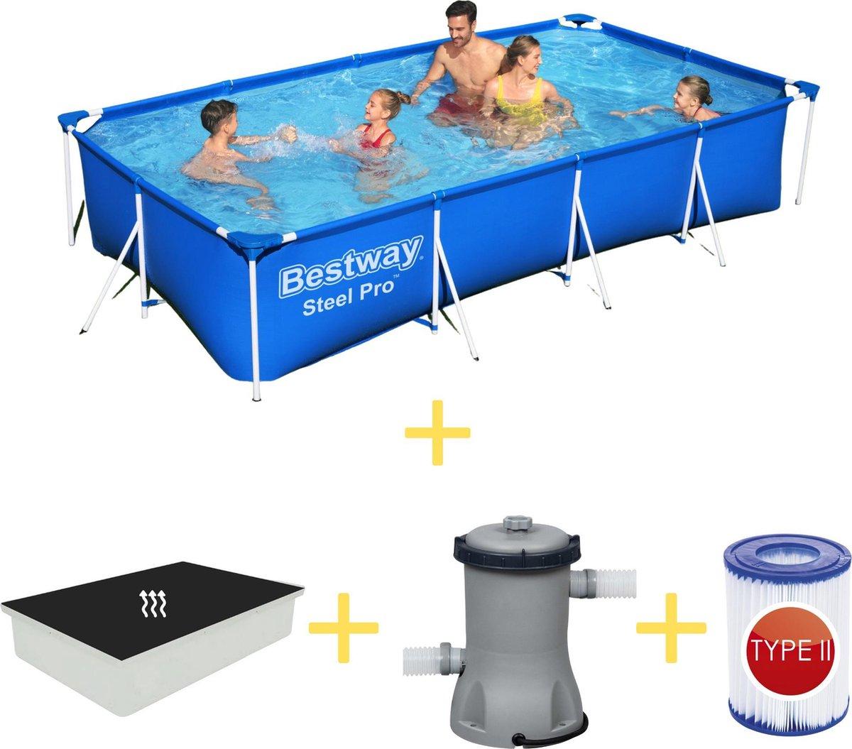Bestway Zwembad - Steel Pro - 400 x 211 x 81 - Inclusief Solarzeil, Filterpomp & Filter