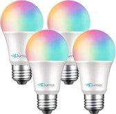 Qumax Smart Lamp E27 –  4 Stuks Slimme verlichting – 16 Miljoen Kleuren – Voor Google Home en Amazon Alexa – Voice Control – Incl. App