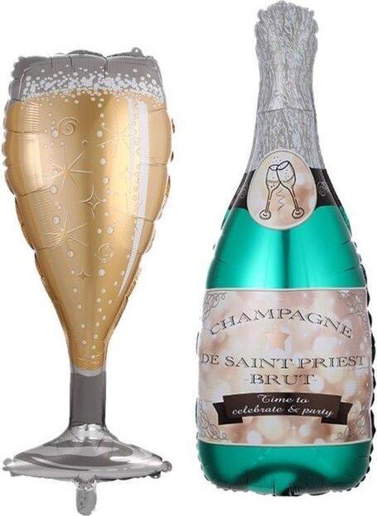 Champagne fles - champagne glas - XL balonnen - 2 stuks - reuze ballon - feest - party - Oud en Nieuw - jubileum